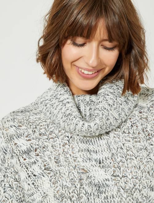 Jersey de punto de cuello vuelto                             blanco nieve Mujer talla 34 a 48