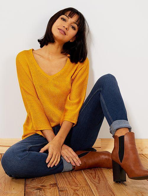 Jersey de punto de rizo con cuello de pico                                                                 AMARILLO Mujer talla 34 a 48