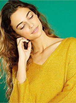 Mujer - Jersey de punto de rizo con cuello de pico - Kiabi