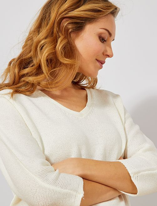 Jersey de punto de rizo con cuello de pico                                                     crudo Mujer talla 34 a 48