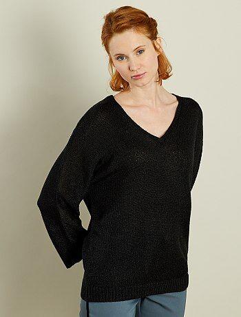 Mujer talla 34 to 48 - Jersey de punto de rizo con cuello de pico - Kiabi