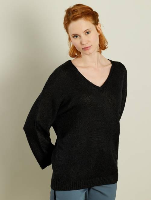 Jersey de punto de rizo con cuello de pico negro Mujer talla 34 to 48