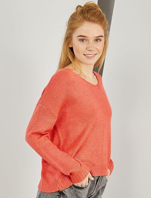 Jersey de punto de rizo                                                                             rosa naranja