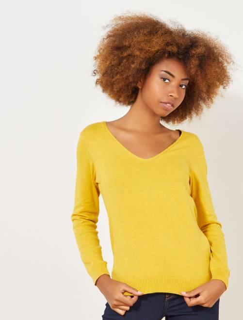 Jersey de punto fino con cuello de pico                                                                                         AMARILLO Mujer talla 34 a 48