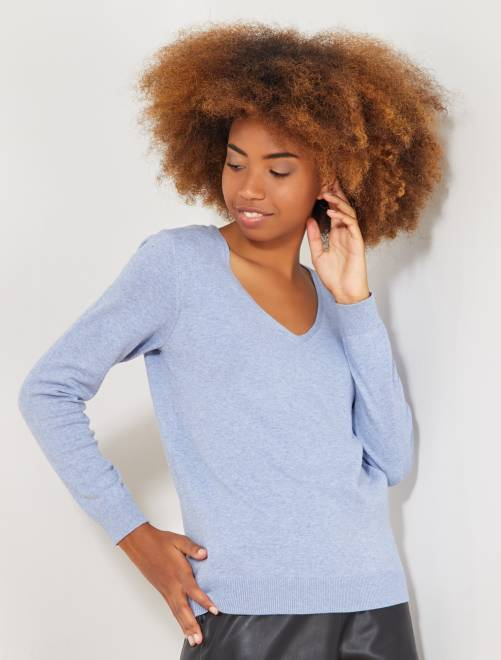 Jersey de punto fino con cuello de pico                                                                                                                                                                 azul cielo Mujer talla 34 a 48