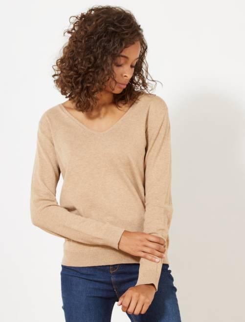 Jersey de punto fino con cuello de pico                                                                                                                                                                 BEIGE Mujer talla 34 a 48