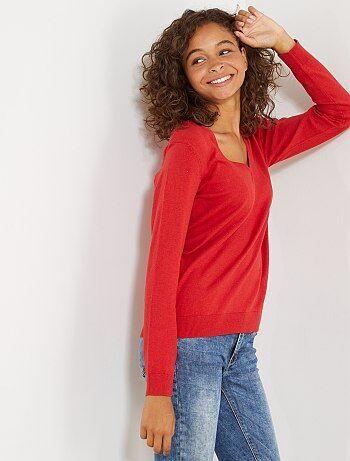 Mujer talla 34 to 48 - Jersey de punto fino con cuello de pico - Kiabi