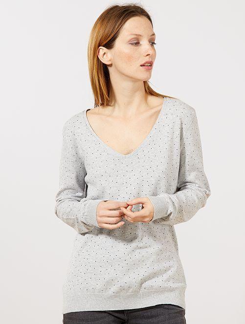 70854816ea6 Jersey de punto fino con cuello de pico Mujer talla 34 a 48 - GRIS ...