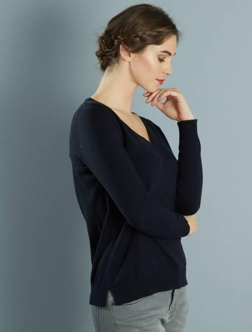 Jersey de punto fino con cuello de pico noir Mujer