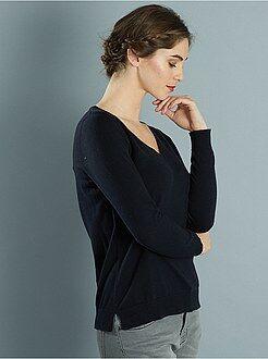 Mujer Jersey de punto fino con cuello de pico