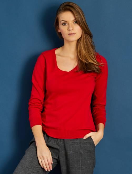 Jersey de punto fino con cuello de pico ROJO Mujer talla 34 to 48