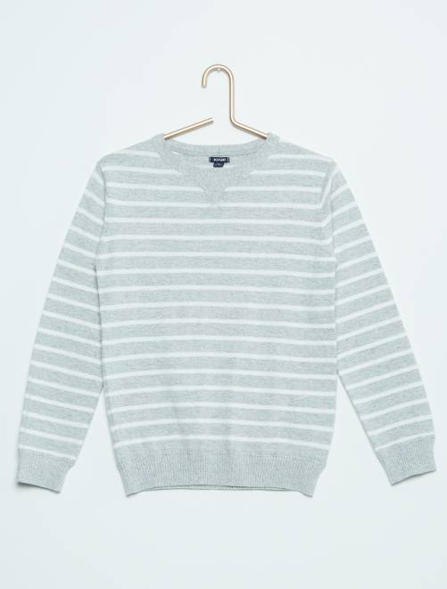 Jersey de punto fino con cuello redondo                                                     a rayas gris