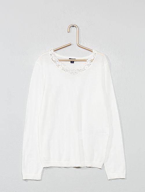 Jersey de punto fino con detalle de encaje                                         blanco mesclado Chica