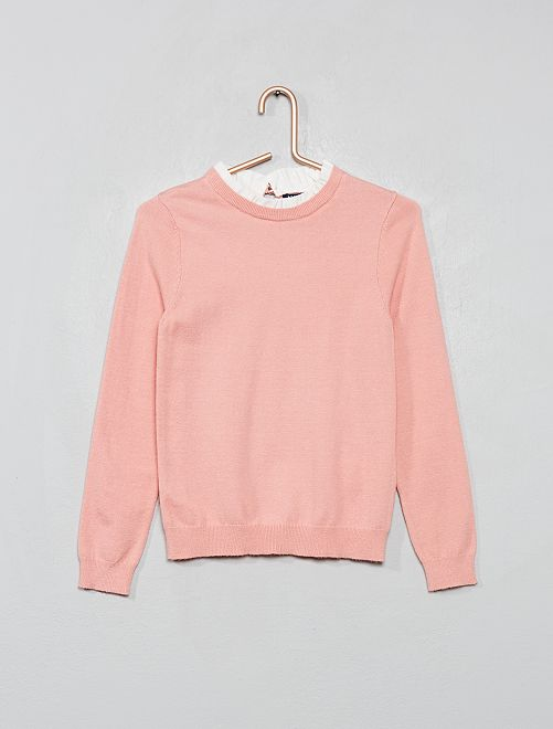 Jersey de punto fino con gorguera                                                     rosa