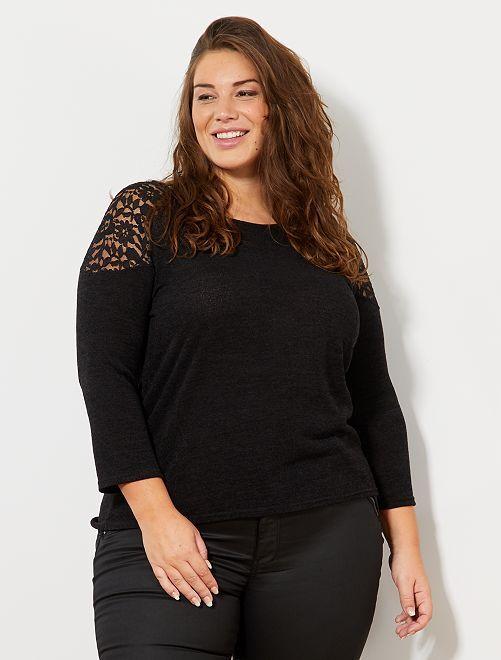 Jersey de punto fino con hombros de encaje                             negro