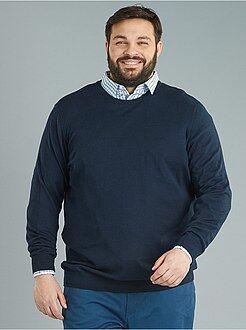 Jerséis cuello redondo - Jersey de punto fino de algodón puro - Kiabi