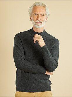 Jerséis cuello alto, cuello cremallera - Jersey de punto fino de algodón puro - Kiabi