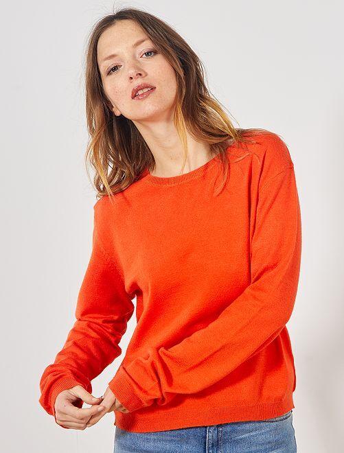 Jersey de punto fino liso                                                                                         naranja