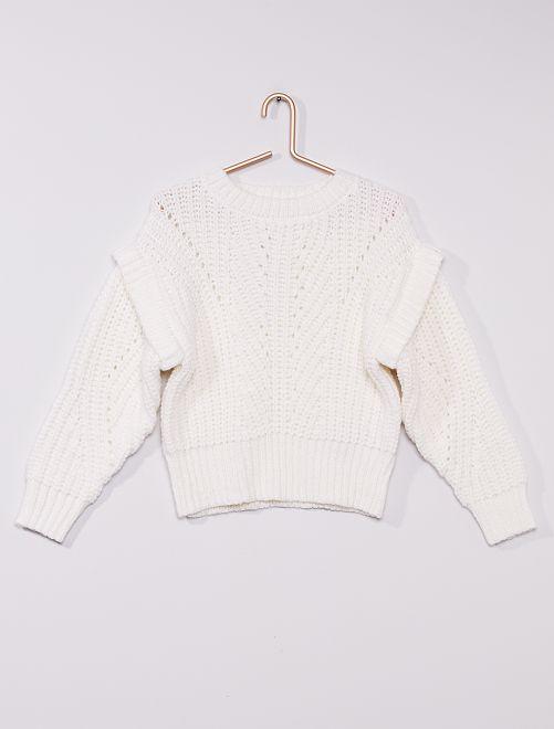 Jersey de punto grueso trenzado                     blanco nieve