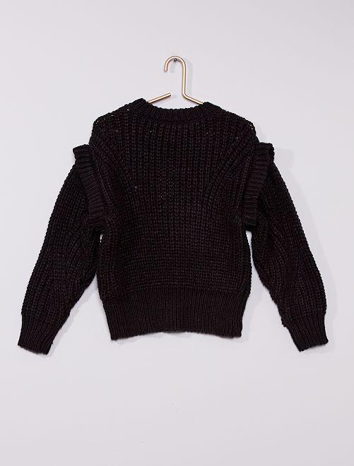 Jersey de punto grueso trenzado                                         negro