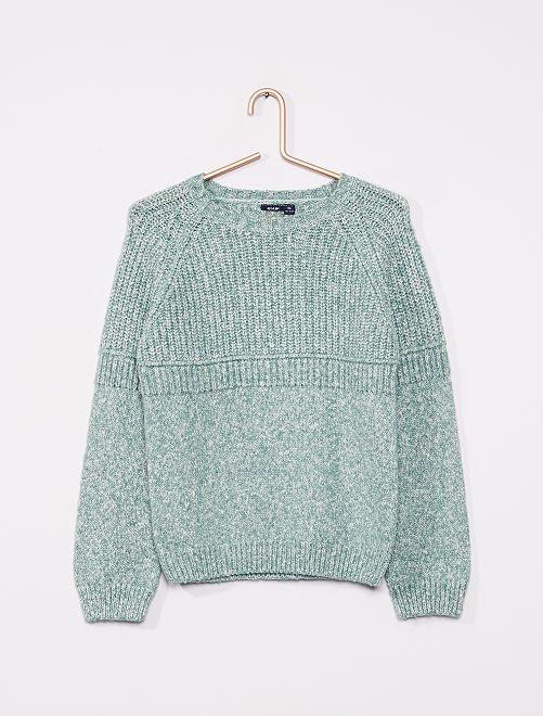 Jersey de punto torcido                             verde gris
