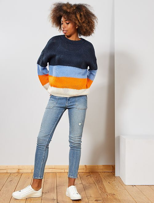 Jersey de punto tricotado 'rayas'                                                                                                                 BEIGE