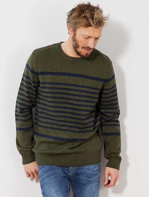 Jersey de rayas de algodón                                         VERDE Hombre