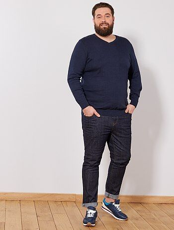 Tallas grandes hombre - Jersey fino con cuello en V talla grande - Kiabi