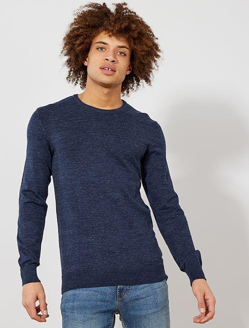 Jersey fino de cuello redondo                                                                                                                                                                             AZUL Hombre
