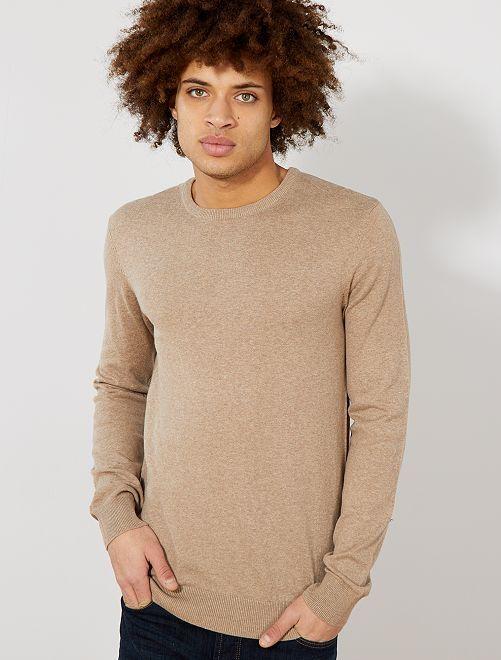 Jersey fino de cuello redondo                                                                                                                                                                             BEIGE Hombre