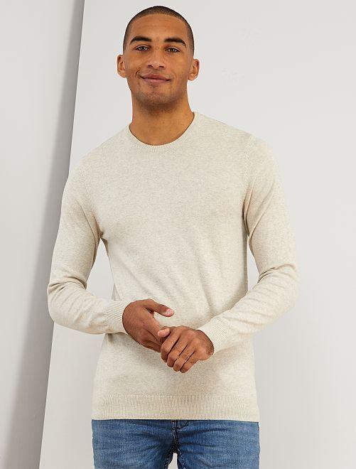 Jersey fino de cuello redondo                                                                                                                                                                                                                 beige