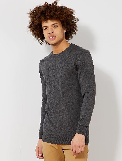 Jersey fino de cuello redondo                     gris