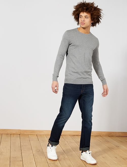 Jersey fino de cuello redondo                                                                                                                                                                                                                 gris Hombre