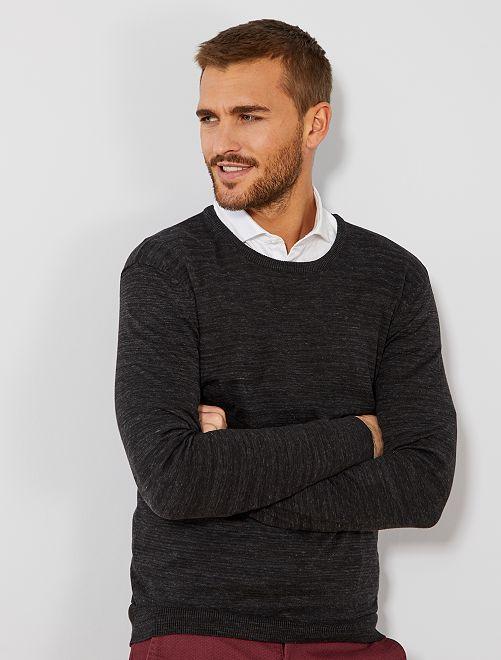 Jersey fino de cuello redondo                                                                                                                                                                 NEGRO