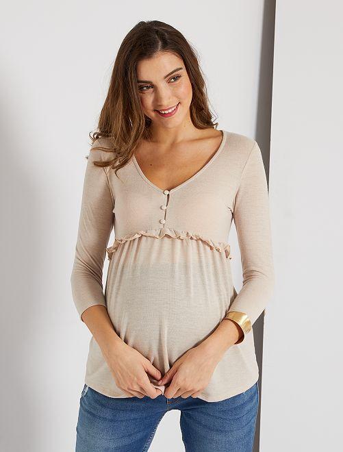 Jersey fino estilo blusa de premamá                                                     BEIGE