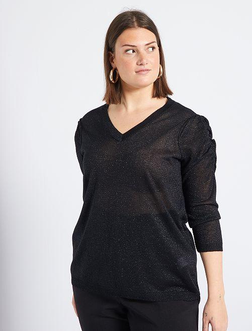 Jersey fino y brillante con manga abullonada                     negro