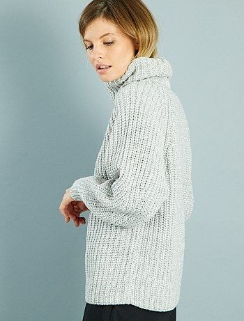 Jersey holgado con cuello vuelto                                                                                         gris claro Mujer