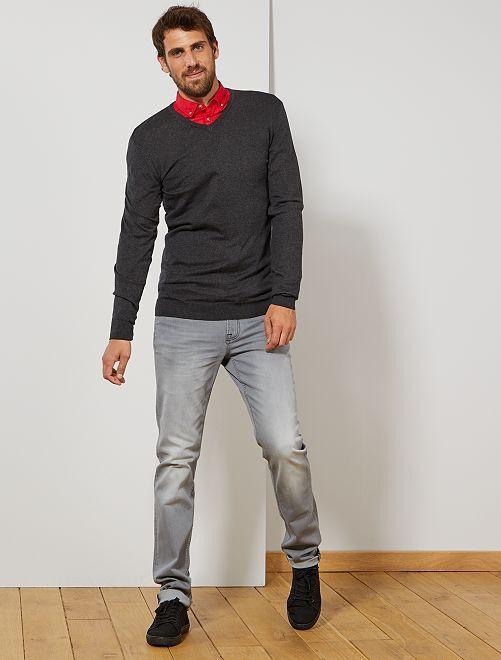 Jersey ligero con cuello de pico +1,90 m                                         GRIS