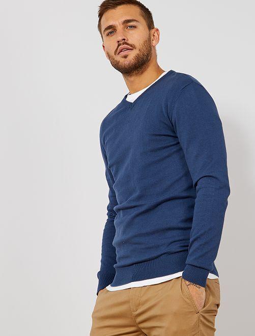 Jersey ligero con cuello de pico                                                                                                                                                     azul gris Hombre