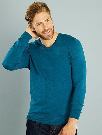 Jersey ligero con cuello de pico                                                                                                                                                                                         azul Hombre