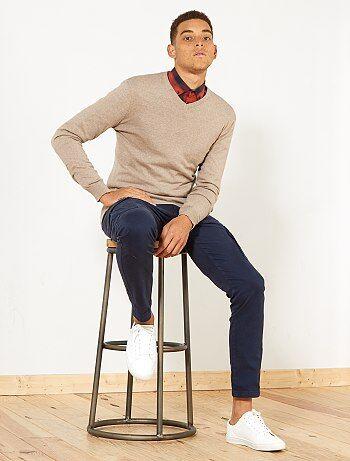 Hombre talla S-XXL - Jersey ligero con cuello de pico - Kiabi