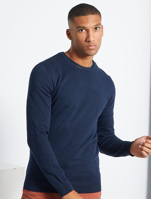 Jersey ligero con cuello redondo                                                                                                                                         azul
