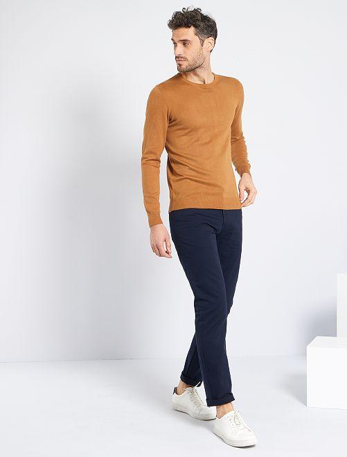 Jersey ligero con cuello redondo                                                                                                                                         BEIGE