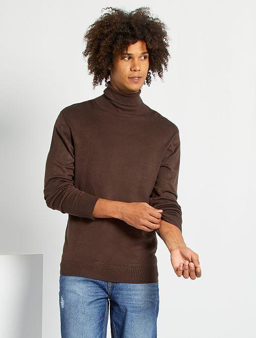 Jersey ligero con cuello vuelto                                                     marrón oscuro