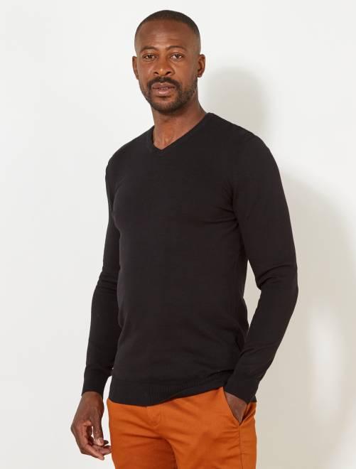 Jersey ligero de algodón con cuello de pico +1,90 m                             negro