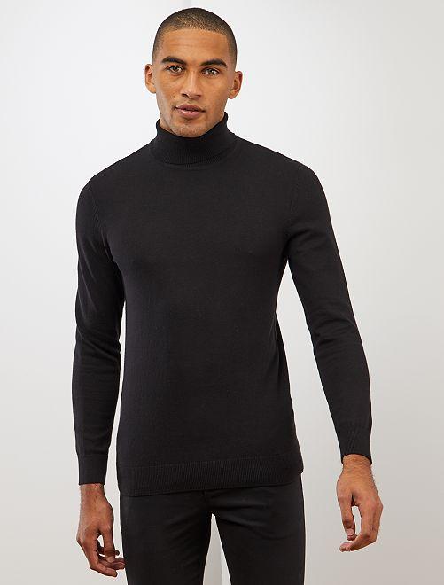Jersey ligero de cuello vuelto                                                     negro