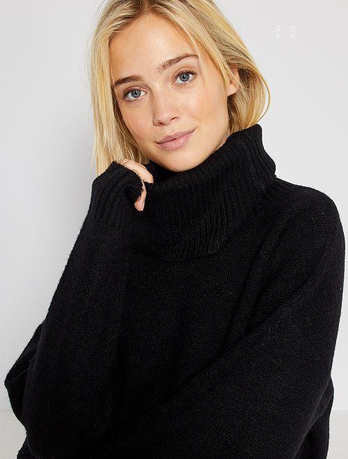 Jersey liso de cuello vuelto                                                                 negro