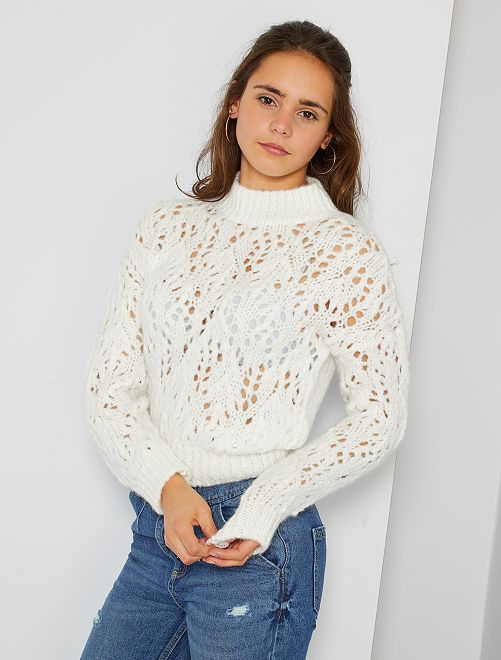Jersey liso de punto calado                             blanco nieve