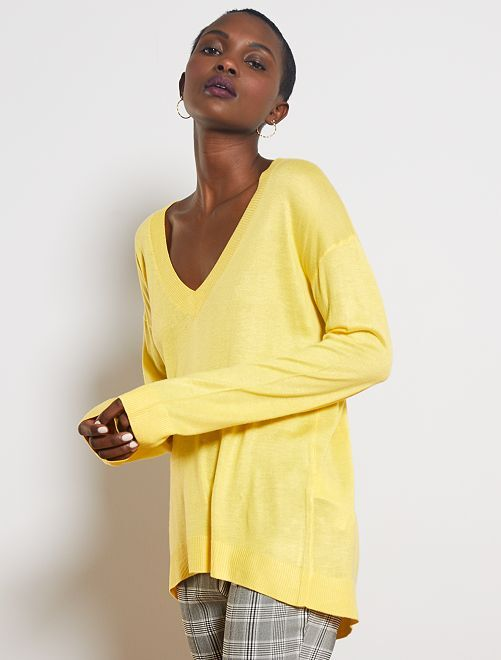 Jersey oversize con escote de pico                                                                                                                                                                 amarillo
