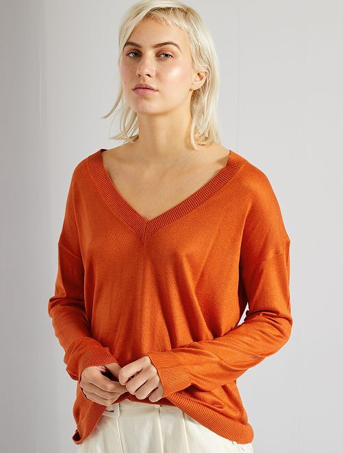 Jersey oversize con escote de pico                                                                                                                                                                                                     naranja